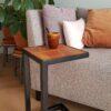 Stalen meubels - stalen bijzettafel bankirai hout 30x30x52
