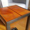 Stalen meubels - stalen bijzettafel bankirai hout
