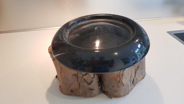 Sokkels - Voetstuk sokkel zwart marmer rond ribbel 23cm zijkant