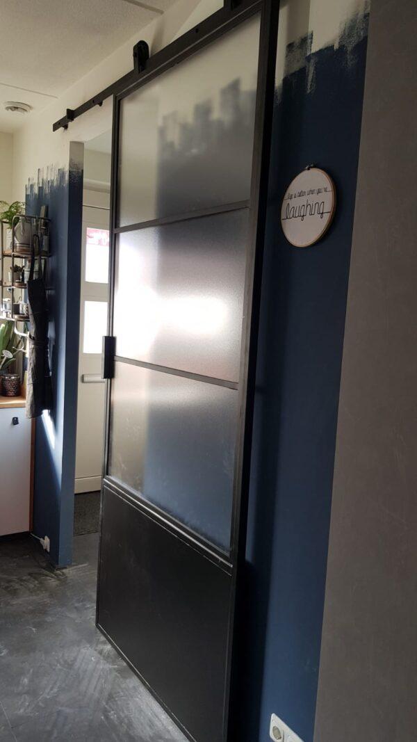 Stalen deur schuifdeur 235cm x 106 cm RAL 9005
