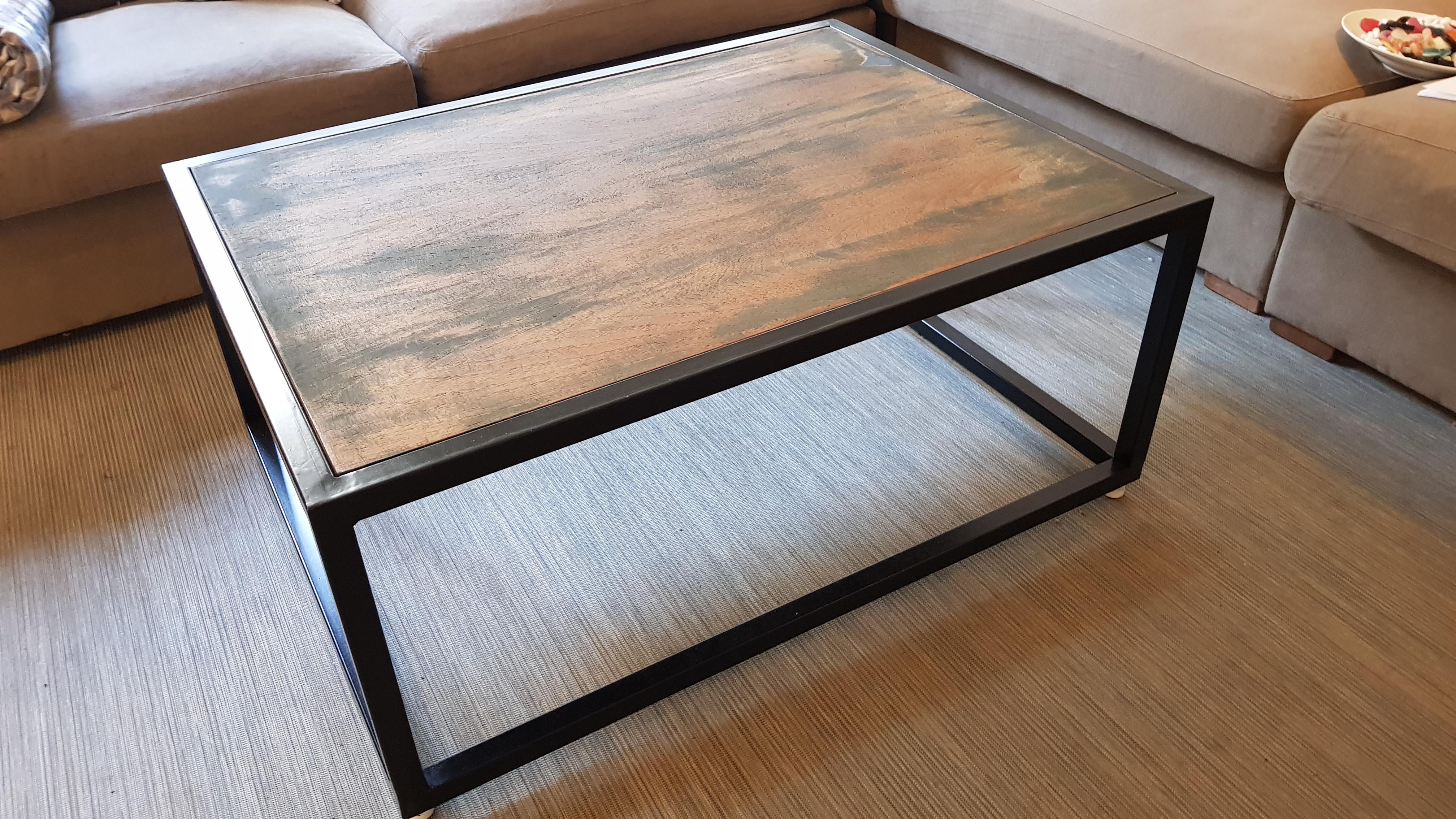 Salon Tafel 100x100.Zwart Stalen Salon Tafel Hardhout Blad