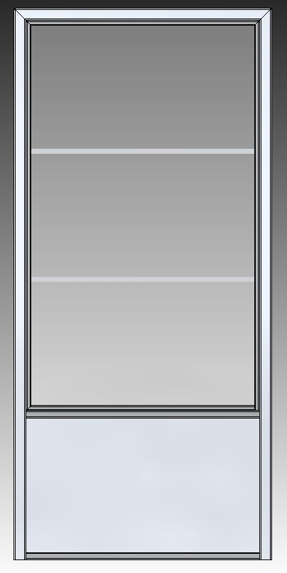 Stalen schuifdeur 2350x1100x3 3 ramen achter aanzicht