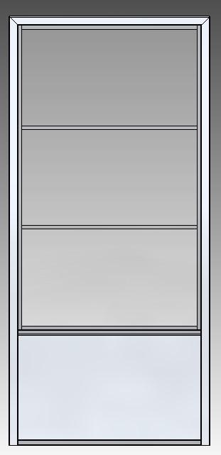 Stalen schuifdeur 2350x1100x3 3 ramen voor aanzicht