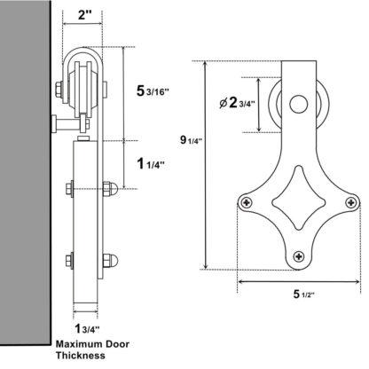 Stalen Schuifdeur systemen-zwart-staal-diamand-set-wiel-maten