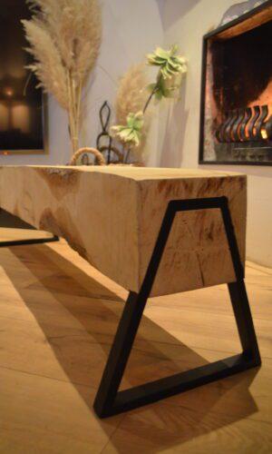 Boomstam bank - Boomstam tafel - Balken Bank - Boomstam tv meubel - Delloire-Staal-Hout 10