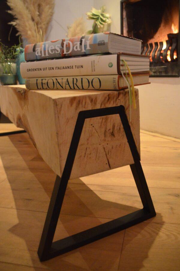 Boomstam bank - Boomstam tafel - Balken Bank - Boomstam tv meubel - Delloire-Staal-Hout 14