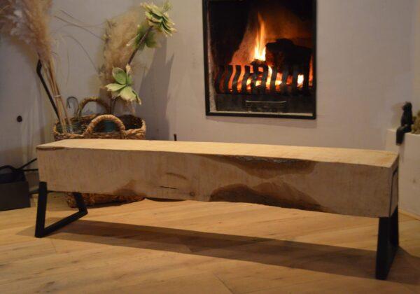 Boomstam bank - Boomstam tafel - Balken Bank - Boomstam tv meubel - Delloire-Staal-Hout 6