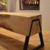 Boomstam bank - Boomstam tafel - Balken Bank - Boomstam tv meubel - Delloire-Staal-Hout 7
