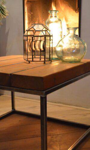 Stalen meubel - Stalen salontafel met hout - Balkentafel Indigo Blank stalen frame