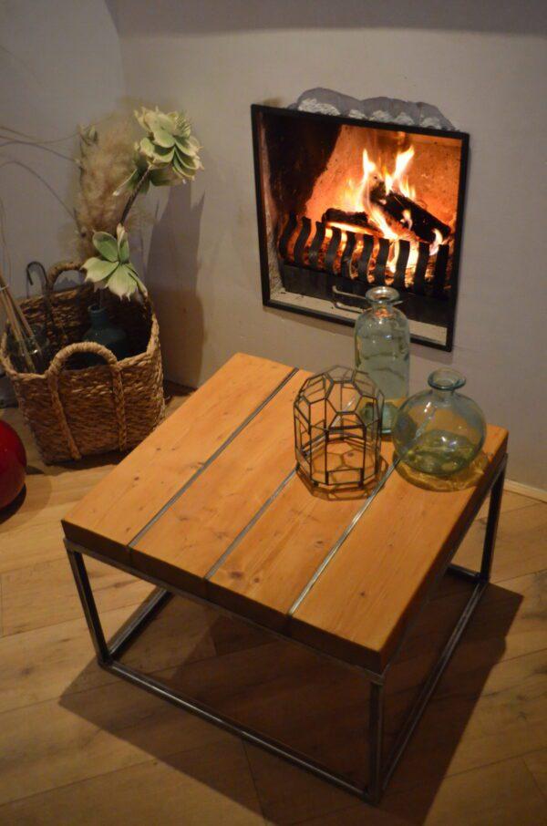 Stalen meubel - Stalen salontafel met hout - Balkentafel Indigo Blank stalen frame 5