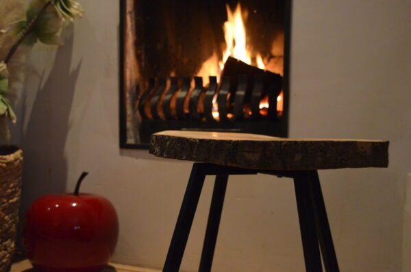 Boomstam Bijzettafel Salontafel Essen stalen frame vierpoot zwart staal