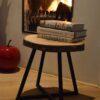 Boomstam Bijzettafel Salontafel Essen stalen frame vierpoot zwart staal blad