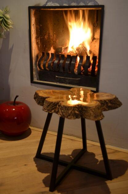 Bijzet tafel Natura zwart staal interieur appel