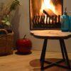 Boomstam salontafel bijzettafel Drie boom stalen frame zwart staal