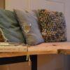 Stalen meubels - Boomstam bank tafel Mr Woodworm zwart stalen frame poedercoat close-up