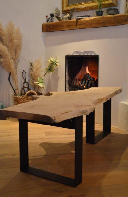 Boomstam bank tafel Mr Woodworm zwart stalen frame poedercoat blad en stalen frame