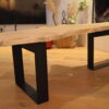 Boomstam bank tafel Mr Woodworm zwart stalen frame poedercoat houten blad en stalen frame