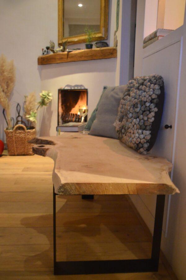 Stalen meubels en lampen - Boomstam bank tafel Mr Woodworm zwart stalen frame poedercoat houten blad