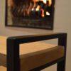 Stalen meubels - Eiken bijzettafel salontafel - stalen frame - zwart