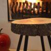 Essen bijzet boomstam tafel kruk stalen frame blad robuust