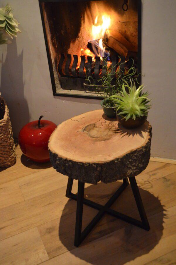 Essen bijzet boomstam tafel kruk stalen frame bovenkant