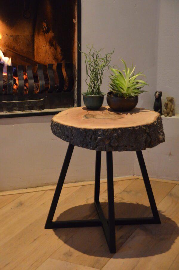 Essen bijzet boomstam tafel kruk stalen frame