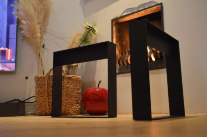 Frame Staal salon tafel bank Woodworm onderkant