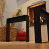 Stalen frame of onderstel salontafel bank Woodworm onderkant