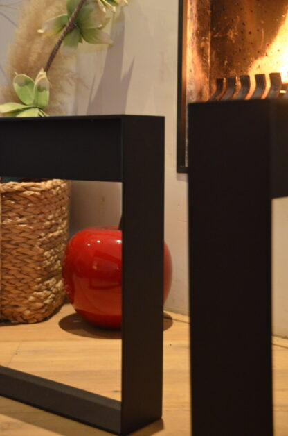 Frame Staal salon tafel bank Woodworm close-up