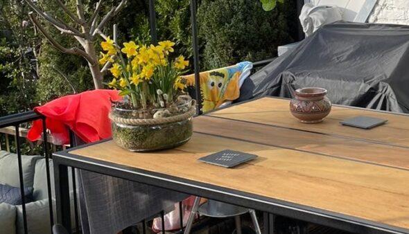 Stalen bartafel met Padouk hardhout buitenmeubel