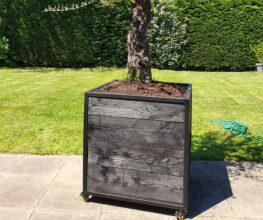 Stalen meubels en lampen - Stalen Boombak plantenbak douglas hout zwart stalen frame tuin terras